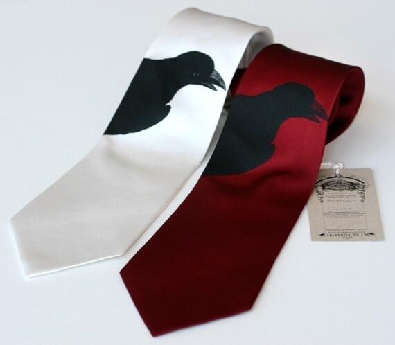Raven Print Necktie. Black bird silhouette printed tie. Silkscreened silk necktie. Choose red, burgundy, ivory, sage, periwinkle & more.