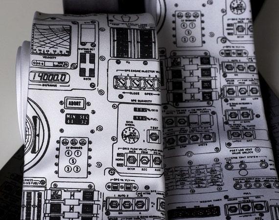 Rocket Science. Apollo cockpit silkscreen necktie. Black ink. Choose standard, narrow or skinny width.