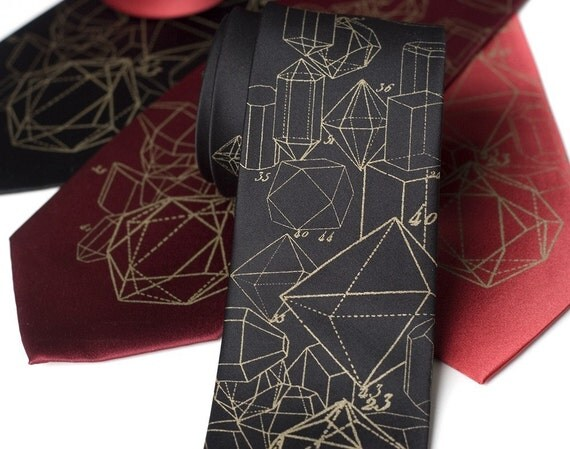 Crystal Math. Crystalline formation silkscreen necktie. Metallic antique brass ink.