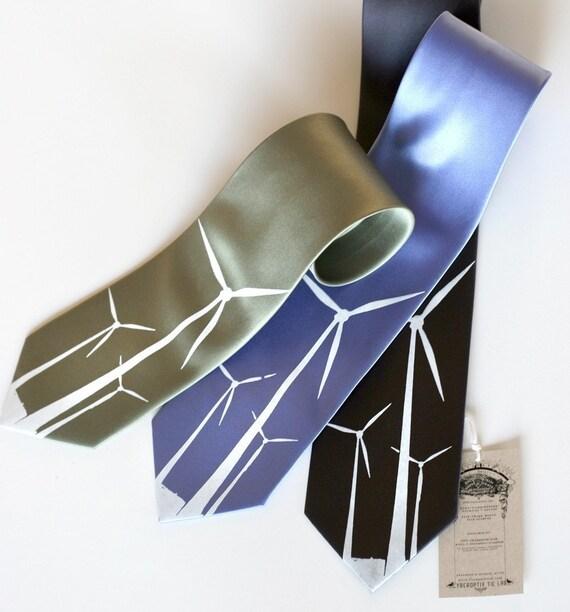 Wind Turbine men's necktie, windmill screenprinted tie, microfiber. Your choice of colors, standard or narrow.