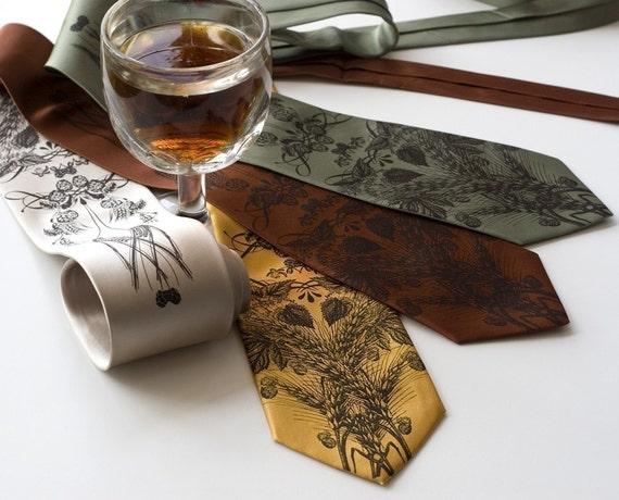 Beer Necktie. Hops, barley & wheat, craft beer lover, brewer gift. Men's silkscreen tie. Espresso brown print on your choice of tie colors.