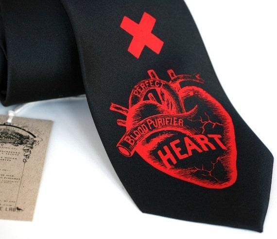 Heart Attack black silk necktie, silkscreen anatomical heart tie, red ink.