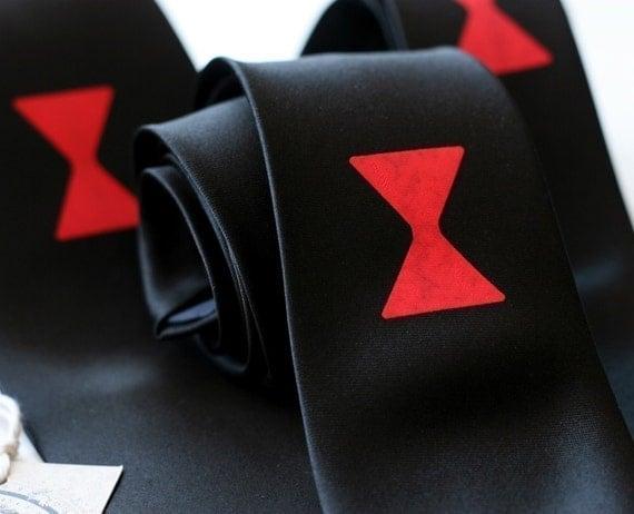 Black widow necktie. Black silk spider necktie. Silkscreened tie, red print. Halloween style.