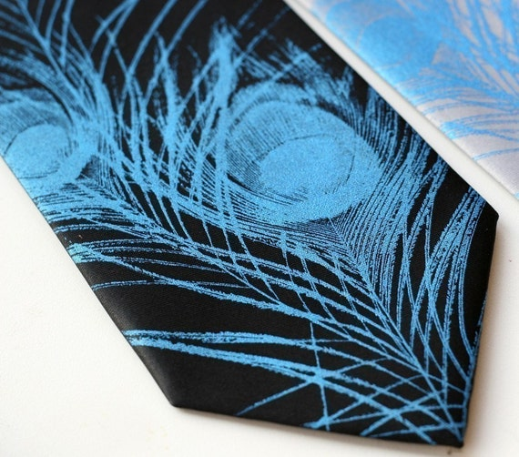 Peacock Feather Necktie. Men's silk tie. Silkscreen feather print. Electric blue on black and more! Choose standard or narrow.