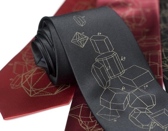 """Crystalline formation tie. """"Crystal Math."""" Metallic antique brass print. Men's silkscreen necktie."""