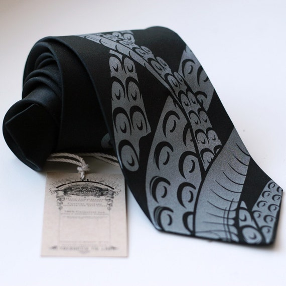 "Octopus Tentacles Necktie. Black silk tie, screen printed ""Sucker"" necktie. Tone on tone, black pearl print."