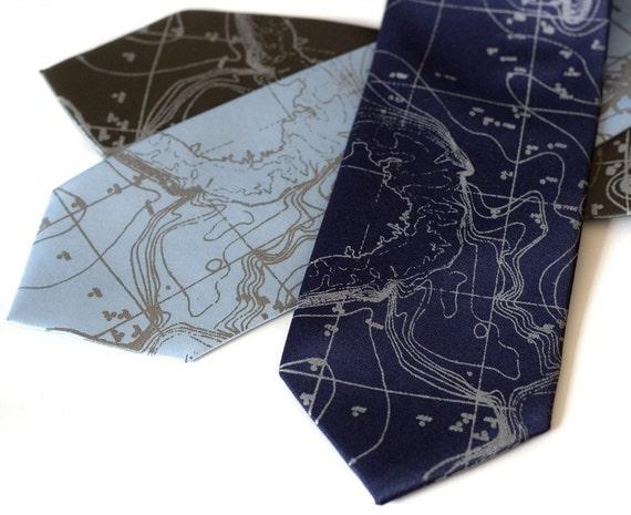 Contour Map Necktie. Scandinavia Topographic map tie. Seafloor map. Dove gray print silkscreen men's necktie. Engineer, ecology gift