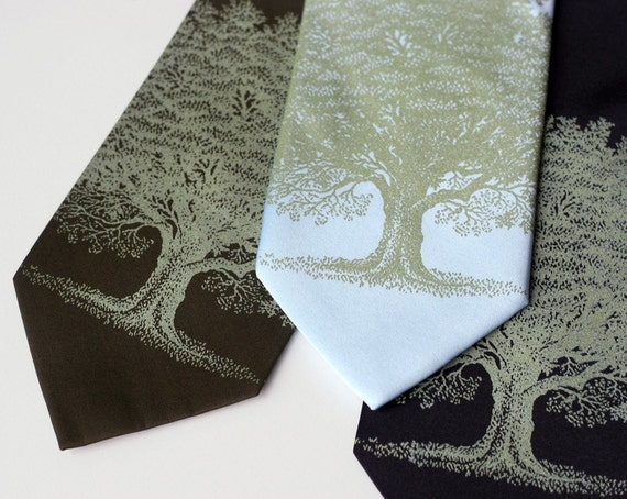 Oak Tree necktie. Screenprinted microfiber tie, sage ink. Choose standard or narrow.
