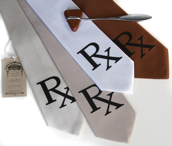 "Pharmacist Necktie. ""Rx Prescription"" men's tie. Black silkscreen printed tie. Pharmacy student gift, med school, druggist."