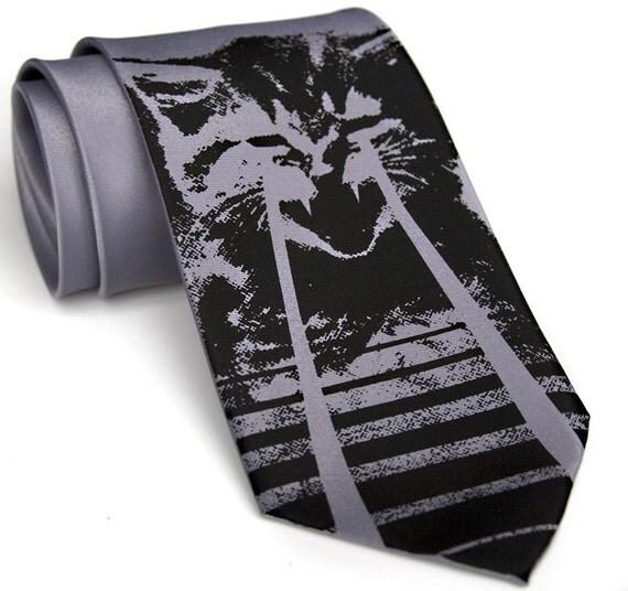Laser Cat Tie. Men's necktie. OMG cats. Cat video, cat lover gift. Choose standard or narrow size. Unique, cool ties!