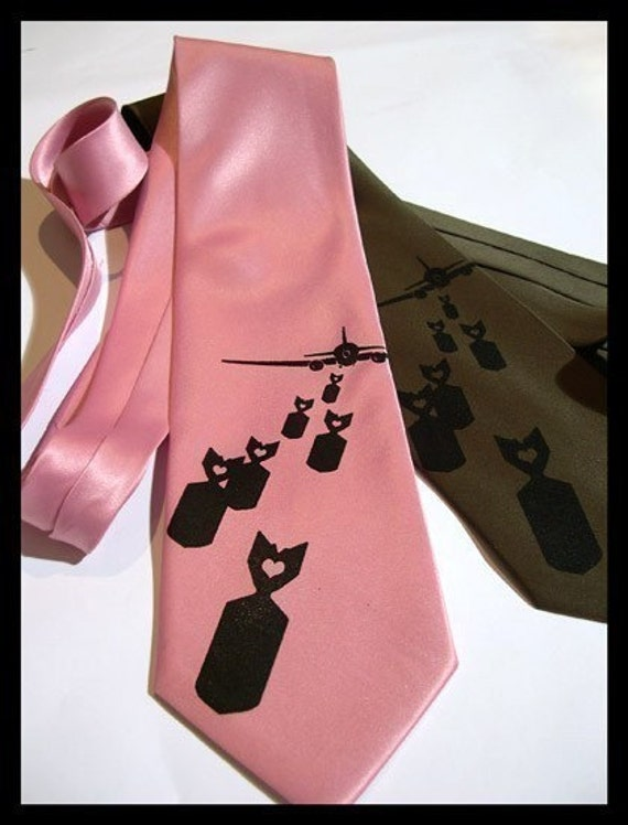 Bombs Away tie - silkscreened necktie exploding lovenotes