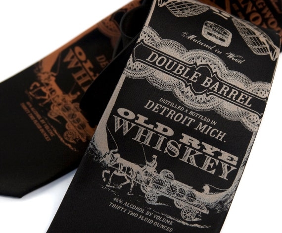"Whiskey Necktie. Gift for bourbon, whisky, rye, scotch lover. ""Whisky Business,"" tie. Narrow, regular or extra long (big & tall) mens tie."