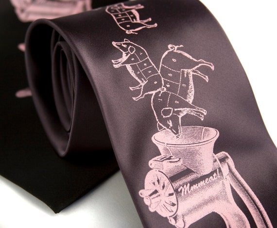 Meat Grinder necktie. Bacon, Pork & sausage lover tie. Chef gift, foodie gift, restaurant, man who loves to cook. Pink pig screen print.