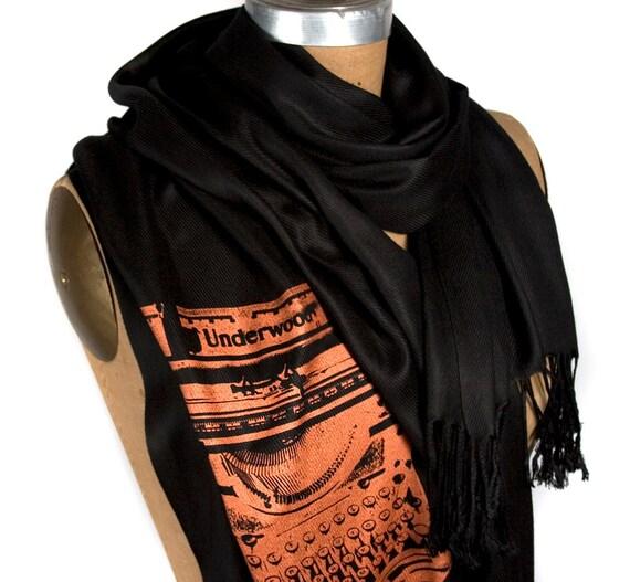 Typewriter scarf. Large black pashmina. Author, writer, bookish gift. Screenprinted with metallic copper ink. For women or men.