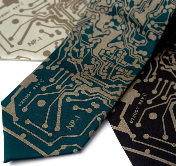 Short Circuit necktie. Circuit Board tie. Circuit board print. Geek gift, boyfriend gift, nerdy ties, science ties.