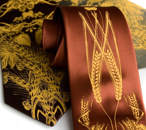 Beer tie. Hops, barley and wheat men's necktie. Silkscreened mustard yellow ink. Microfiber. Choose width and color.