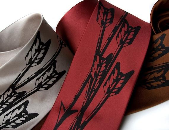 "Arrow men's necktie, ""Quiver."" Silkscreen design tie, black print. Choose standard or narrow size microfiber."