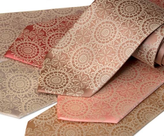7 microfiber Cottage Lace wedding ties. Men's silkscreen neckties, groomsmen group discount, matching vegan-safe ties.