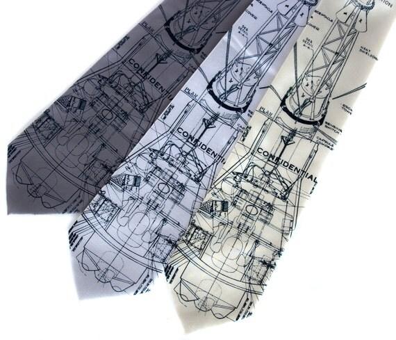 Rocket blueprint necktie. NASA tie. Mercury spacecraft. Project Mercury men's tie. Navy blue silkscreen print. Space enthusiast gift.
