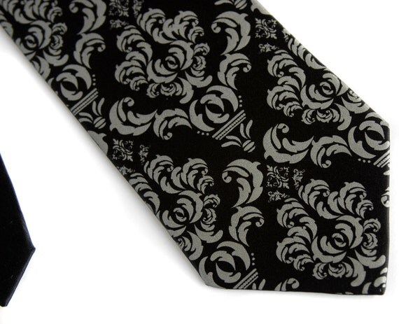 Black damask necktie. Silkscreened men's tie, dove gray print. Microfiber. Choose standard, narrow or skinny or XL.