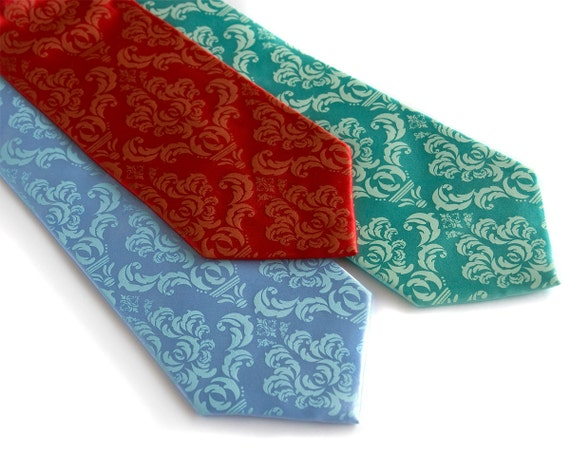 Damask necktie, silk. Screen printed tie, tone-on-tone design. Choose from sky blue, aqua, red or burgundy.