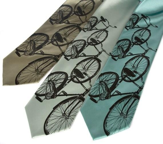 "Bicycle necktie. Men's bike tie. Cycling lover gift. ""Triple Cruiser"" silkscreen tie. Bike rider, bike commuter, cyclist gift."