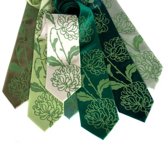 Custom wedding ties. 7 mens wedding neckties, shown in Chrysanthemum print. Microfiber. Groomsmen group discount, silkscreen design
