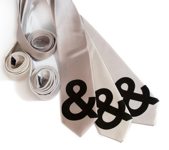 "Ampersand tie. Minimalist Helvetica ""and symbol"" silkscreened typography microfiber necktie. Narrow or standard width."