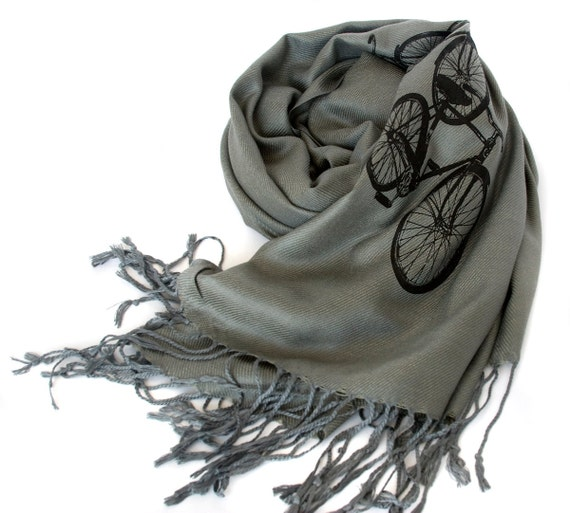 "Bicycle scarf. ""Triple Cruiser Bike."" Large dove gray Pashmina. Black print. For men or women. Show your love of cycling."
