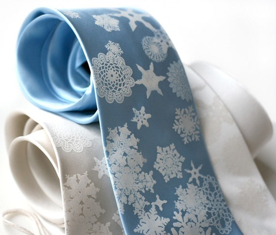Snowflake necktie. Men's silk tie. Silkscreen winter scene, elegant holiday necktie. Festive mens fashion.