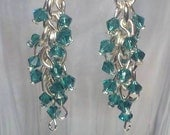 Earrings Teal Swarovski Crystal and Silver Waterfall Chandelier