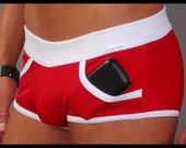 Ultra Square Cut with Pockets Swimsuit Red/White 1203