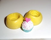 CUPCAKE 2 Piece Flexible Push Mold Mould For Crafts From Resin Fimo Polymer Premo Wax Chocolate Dollhouse (E209)