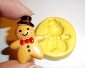 Gingerbread Man Flexible Push Mold Mould For Resin Paper Clay Sculpey Fimo Polymer Premo Wax Chocolate  (E270)