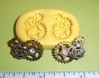 Steampunk Gears Flexible Mold Mould For Resin Paper Clay Sculpey Fimo Polymer Premo Wax Chocolate G153