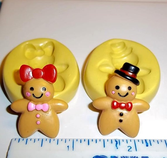 Gingerbread Girl And Boy Set of 2 Flexible Push Mold Mould For Resin Paper Clay Sculpey Fimo Polymer Premo Wax Chocolate Fondant  (E272)