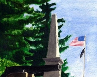 Boxford Monument; a watercolor painting