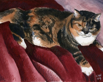 Boylston: watercolor painting of a fat tabby cat......Custom Pet Portraits