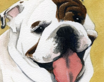 Old English Bull Dog; A watercolor painting.........Custom Pet Portraits