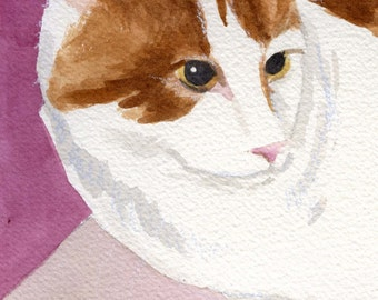 Pink Kitty watercolor painting Custom Pet Portraits