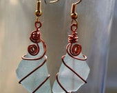 Spirit of the Sea - seaglass and copper earrings