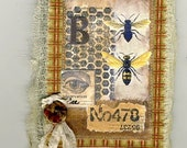 Bee journal, mini composition book fabric art collage on cover gold and black