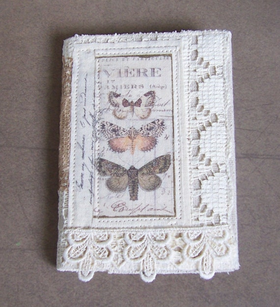 notebook or small composition book with removable fabric cover Butterflies and Lace