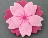 Layered Japanese Sakura Cherry Blossom Felt Pin