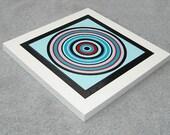 Concentric Circles Art Print Aqua Blue and Red Retro Art Mod Print Modern Pop Art Mixed Media 10x10 Mounted Print
