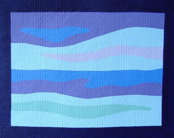 ORIGINAL Modern Landscape Painting Blue and Purple Abstract Horizon Art Acrylic Artwork
