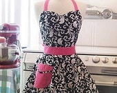 The BELLA Vintage Inspired Black and White Scroll with Hot Pink Full Apron