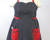 Retro Apron Plus Size Sweetheart Neckline Black and White Polka Dot with Red BETTY
