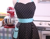 The BELLA Vintage Inspired Black and White Polka Dot with AQUA Full Apron
