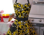 The BELLA Vintage Inspired Black and White Leaves on Yellow Full Apron